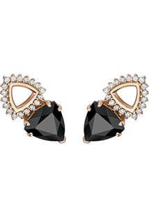 Brinco Ouro Rosã© Quartzos Negros E Diamantes