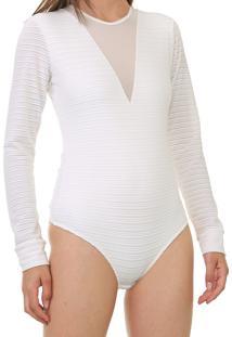 Body Calvin Klein Listrado Off-White