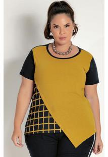 Blusa Preta E Mostarda Com Recortes Plus Size