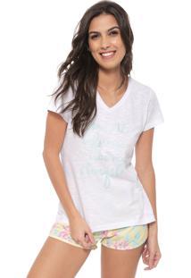 Short-Doll Cor Com Amor Estampado Branco/Amarelo