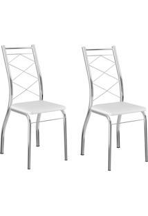 Kit 2 Cadeiras 1710 Branco/Cromado - Carraro Móveis