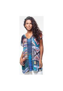 Blusa 101 Resort Wear Saida De Praia Estampada Crepe Tribal