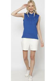 Polo Slim Fit Em Piquê Com Botões & Bordado- Azullacoste