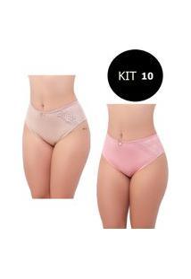 Kit Com10 Calcinha Grande Feminina Lumi Store Detalhe Em Renda Calçola Senhora
