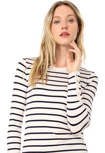 Blusa Banana Republic Soft Stretch Fitted Button-Sleeve Off-White/Preta