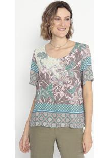 Blusa Floral & Geométrica- Verde Claro & Verde Escuro