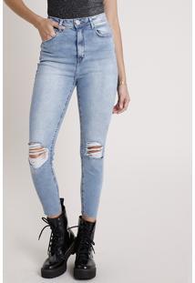 Calça Jeans Feminina Cropped Cintura Super Alta Destroyed Azul Médio