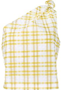 Rosie Assoulin Blusa Assimétrica Xadrez - Amarelo