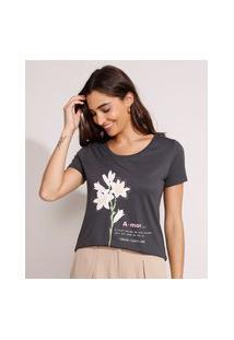 """Camiseta Flores Amor"""" Manga Curta Decote Redondo Chumbo"""""""