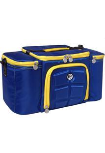 Bolsa Térmica Azul/Amarela Com 3 Potes – Fit & Fuel