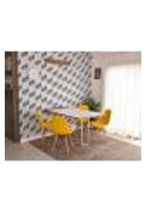 Conjunto De Mesa Dobrável Retrátil 1,40 Branco/Noronha Inox + 4 Cadeiras Botonê - Amarela