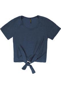 Blusa Com Amarração Frontal Azul