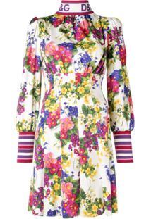 Dolce & Gabbana Vestido Floral Com Gola Alta - Branco
