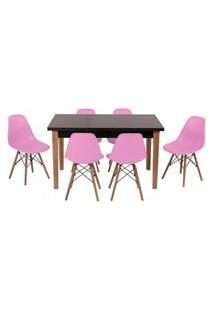 Conjunto Mesa De Jantar Luiza 135Cm Preta Com 6 Cadeiras Eames Eiffel - Rosa
