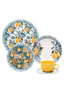 Aparelho De Jantar E Chá 30 Peças Unni Siciliano Oxford Azul/Amarelo