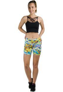 Bermuda Cos Modelador Estampada - Salto Triplo - Feminino-Amarelo+Azul