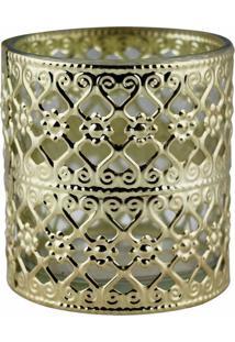 Castiçal De Metal Dourado E Vidro 7,5X7,5X8 Cm