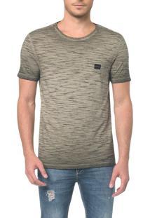 Camiseta Ckj Flamê Tinto Sujo Logo Peito - Oliva - Pp