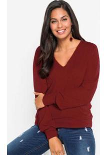 Blusa Canelada Com As Mangas Bufantes Vermelha
