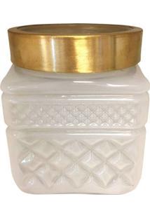 Vaso De Vidro Branco Gold Colar Squared Urban Home