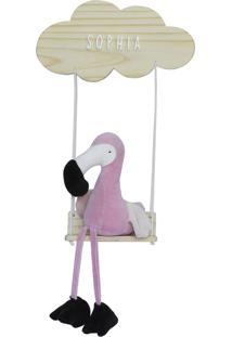 Enfeite Maternidade Nuvem Balança Flamingo Moderno Nome Bebê
