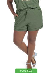 Shorts Em Moletom Com Bolsos Verde