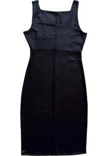 Vestido Curto Com Decote Quadrado Preto