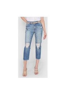 Calça Jeans Bobstore Mom Cactus Azul