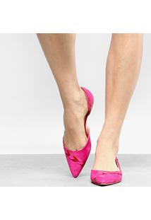 Sapatilha Couro Shoestock Bico Fino Folhas Feminina - Feminino-Pink
