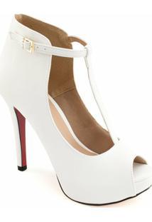 Ankle Boot Verniz Sapato Show - Feminino-Branco