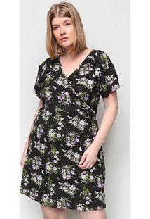Vestido Naif Plus Size Curto Transpassado Floral - Feminino-Lilás