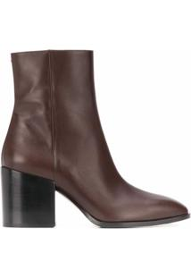 Aeyde Ankle Boot Leandra Com Salto 80Mm - Marrom