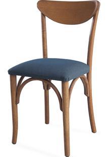 Cadeira Para Sala Estofada Amélie - Stain Jatobá - Tec.997 Chumbo - 44,5X45X81 Cm