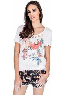 Camiseta Colcci Vintage Feminina - Feminino-Off White