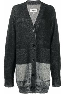 Mm6 Maison Margiela Cardigan Oversized Bicolor - Preto