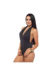Body Ágata Rios Decote Lurex Preto