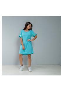 Vestido Camiseta Azul Claro Com Bordado Na Manga Floral Coleção Dona De Mim Multicolorido