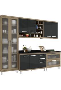 Cozinha New Vitoria 15 Avelã Hecol Móveis Marrom/Preto