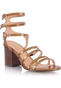 Sandália Salto Médio Gladiadora Bronze Metalizado