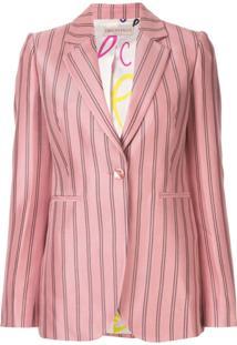 Emilio Pucci Blazer Listrado Com Botões - Rosa