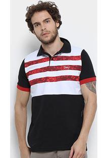 Camisa Polo Jimmy'Z Listrado Floral Masculina - Masculino-Preto