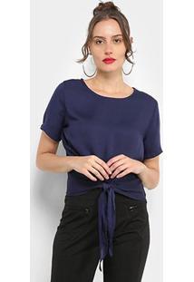 Blusa The Style Box Nó Frontal Feminina - Feminino-Azul Escuro
