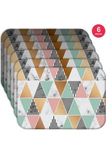 Jogo Americano Love Decor Wevans Marble Triangle Kit Com 6 Pçs