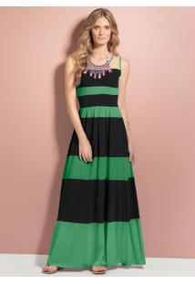 Vestido Longo Listrado Verde E Preto