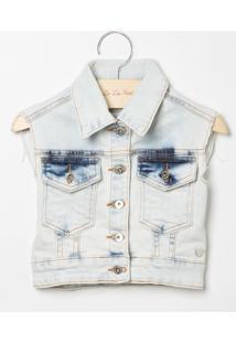 Colete Le Lis Blanc Petit Bonjour Jeans Azul Feminino (Jeans Delave Marmorizado, 01)