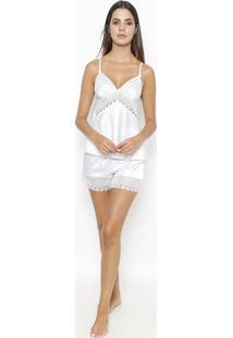 Short Doll Acetinado Com Bordado- Brancofruit De La Passion