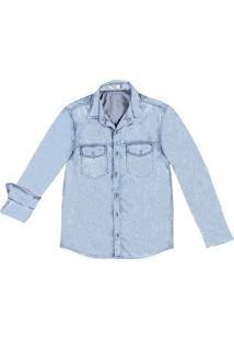 Camisa Masculina Em Jeans Com Mangas Longas E Desgaste De Cor