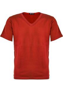 Camiseta Versatti Manga Curta Gola V Fran Vermelho