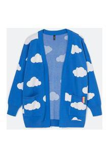 Cardigan Alongado Em Tricô Estampa Nuvens | Blue Steel | Azul | Pp