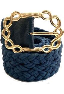 Cinto Cintos Exclusivos Corda Fivela 4,5 Cm Feminino - Feminino-Azul Escuro